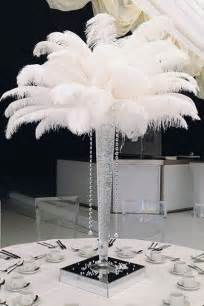 vase with feathers ostrich feather centerpiece from
