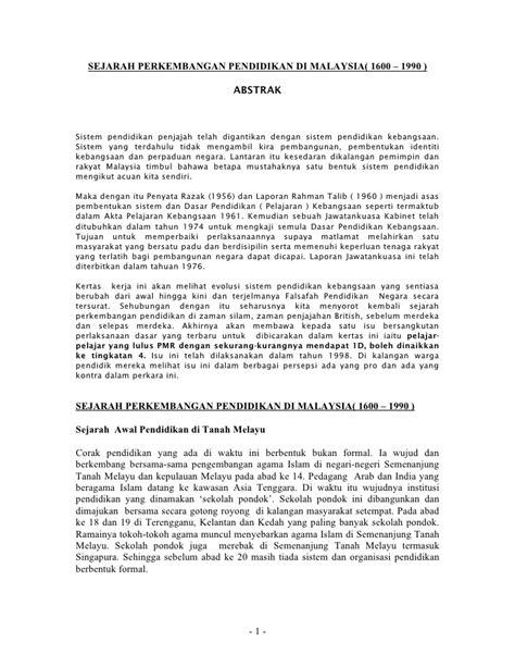 perkembangan pendidikan tajuk sejarah pendidikan di sejarah perkembangan pendidikan di malaysia