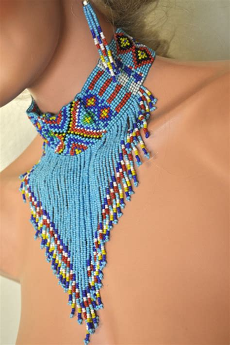 tribal beaded choker earrings american indian pocahontas