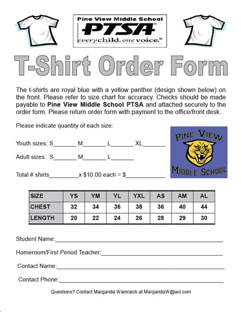 school t shirt order form template tshirt order forms find word templates