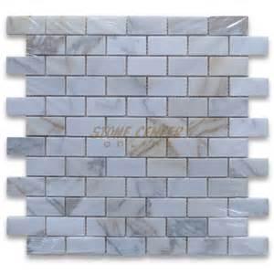 calacatta gold 1x2 medium brick mosaic tile polished
