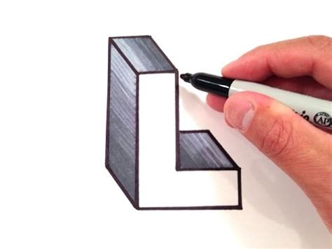 3d L how to draw the letter l in 3d