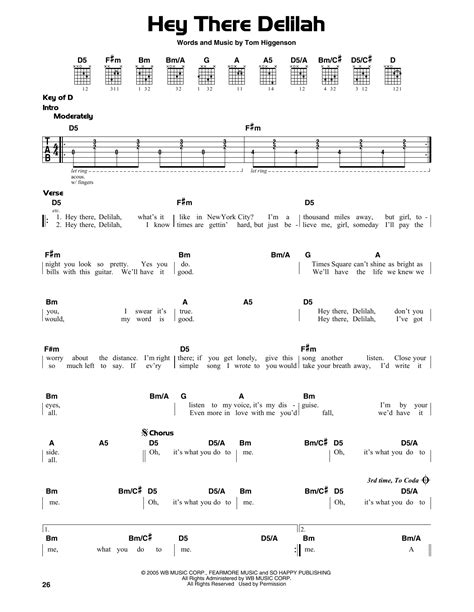 guitar tutorial hey there delilah hey there delilah by plain white ts guitar lead sheet