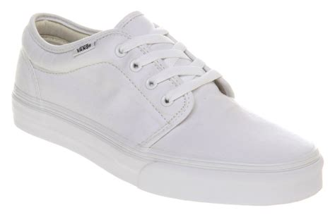 white shoes for mens vans 106 vulcanized true white trainers shoes ebay