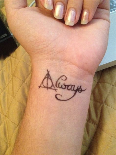 always wrist tattoo harry potter deathly hallow quot always quot tatoo tattoos