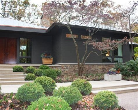 ranch exterior grey brown home exterior grey highlights and terrace