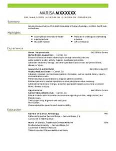 acupuncture resume examples healthcare resumes livecareer