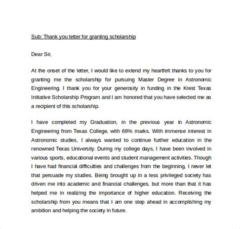 Thank You Letter Scholarship Donor Template Sle Thank You Letter For Scholarship 9 Free Documents In Pdf Word