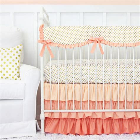 coral and gold dot ruffle crib bedding set by caden