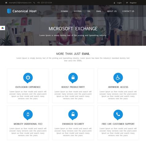 microsoft exchange themes canonical host responsive html css hosting template