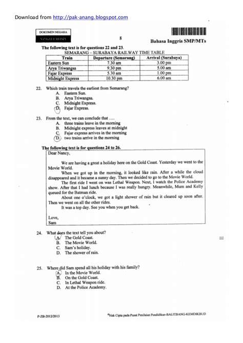 Naskah Soal Un Bahasa Inggris Smp 2013 Paket 1 | naskah soal un bahasa inggris smp 2013 paket 1