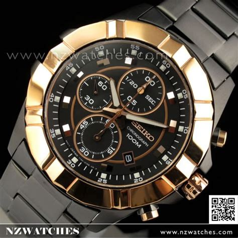 buy seiko lord chronograph all black and gold mens