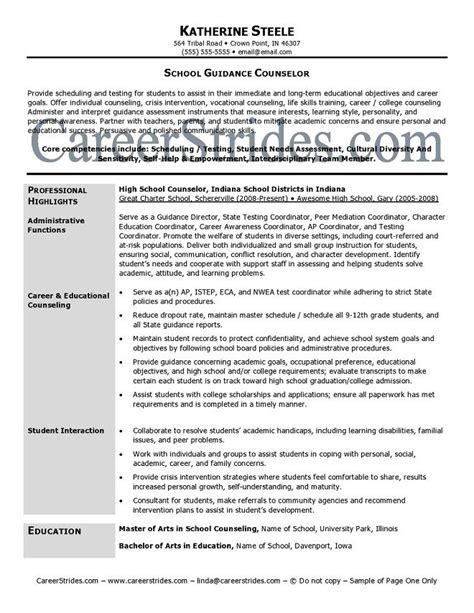 School Counselor Resume by 17 Best Ideas About Professional School On