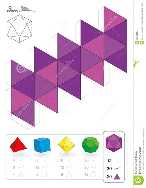 How To Make 3 Dimensional Shapes With Paper - paper model icosahedron stock vector image of maths
