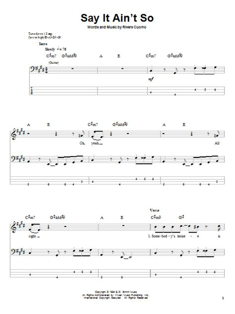 say it aint so say it ain t so bass guitar tab by weezer bass guitar tab