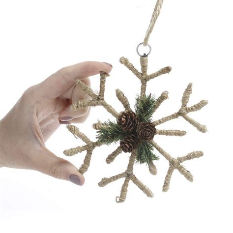 rustic ornaments rustic jute snowflake ornament ornaments