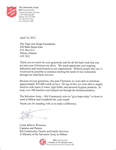Salvation Army Community Service Letter Testimonials Tiger Jeet Singh Foundation