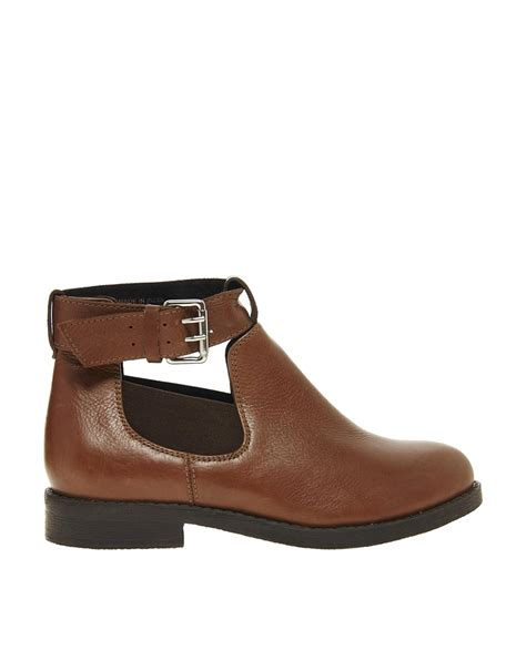 asos ascot leather cut out ankle boots in brown lyst