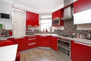 Kitchen red black tiles red black and white art red white