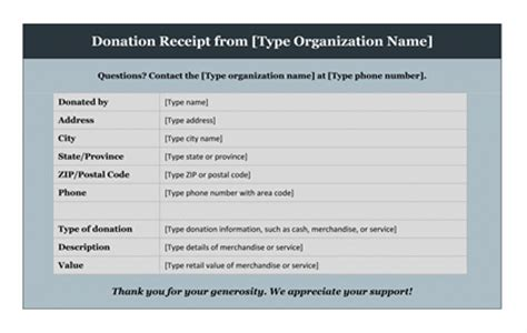 free donation receipt template donation acknowledgement letter tax deductible 12 free