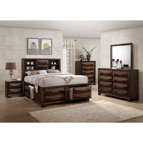 Contemporary Brown 6 Piece Queen Bedroom Set Anthem Rc Rc Bedroom Furniture