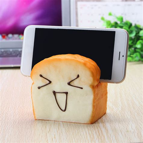 Desk Business Card Holder For Men Cute Simulated Fragrant Toast Bread Model Squishy Toys