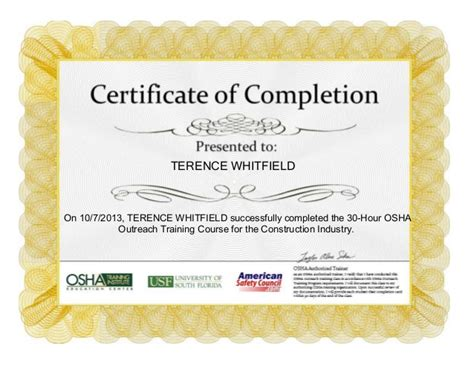 osha 30 card template osha 30 hour certification