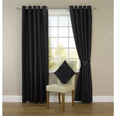 Black And Curtain Panels Wilko Faux Silk Eyelet Curtains Black 117 X 137cm At Wilko