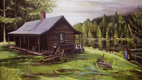 log cabin by the lake painting by nancy griswold