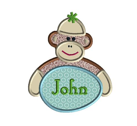 monkey applique easter sock monkey applique machine embroidery design