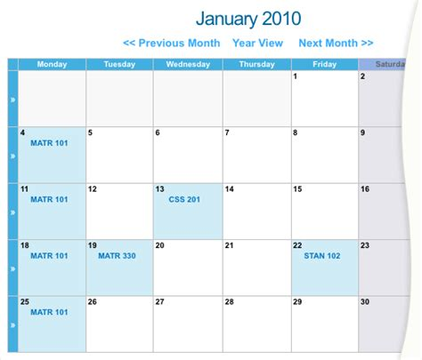 calendar month layout calendar page calendar manuals squiz matrix community