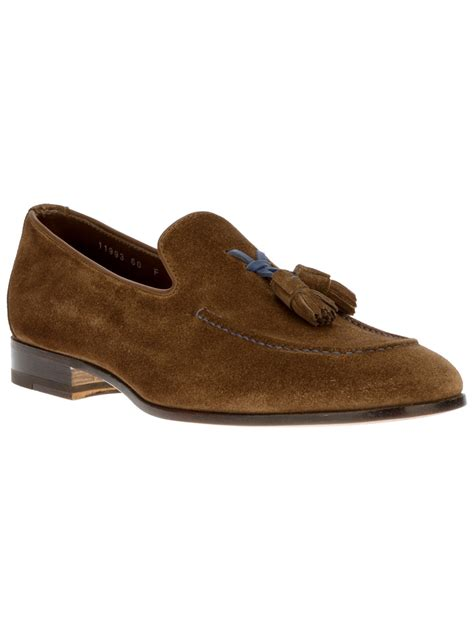 brown suede loafers santoni suede tassel loafer in brown for lyst