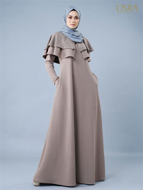 jubah muslimah moden ellianor cape saddle brown osra exclusive osra exclusive