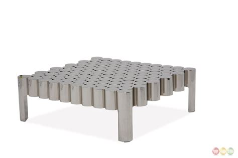 la tania ultra modern coffee table in a silver stainless