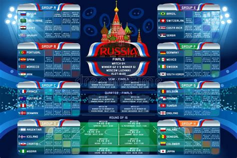 fifa world cup 2018 result russia world cup calendar web banner stock vector