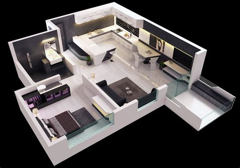 One Bedroom Apartment Designs Small Apartment 3d Floor Plan Breeds Picture