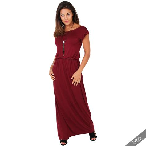 Longdress Maxy Dominic damen toga kleid jersey lang sommerkleid strandkleid maxikleid hauskleid basics ebay