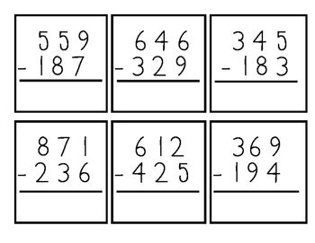 printable 3 digit number cards 3 digit subtraction with regrouping flash cards by