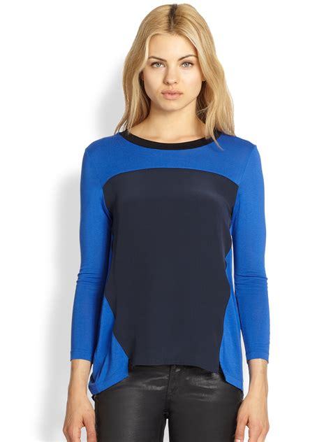 Looney Blouse By Aiko Store aiko xerxes colorblock top in blue mosaic lyst