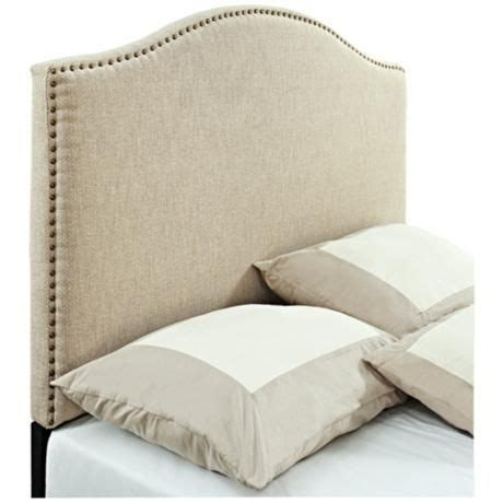 linen panel headboard with nailhead trim for the home