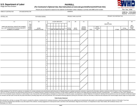 Free General Certified Payroll Form Pdf 139kb 2 Page S Payroll Template Pdf