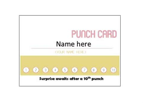 reward punch card template punch card templates okl mindsprout co