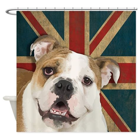 bulldog shower curtain by dogtshirts