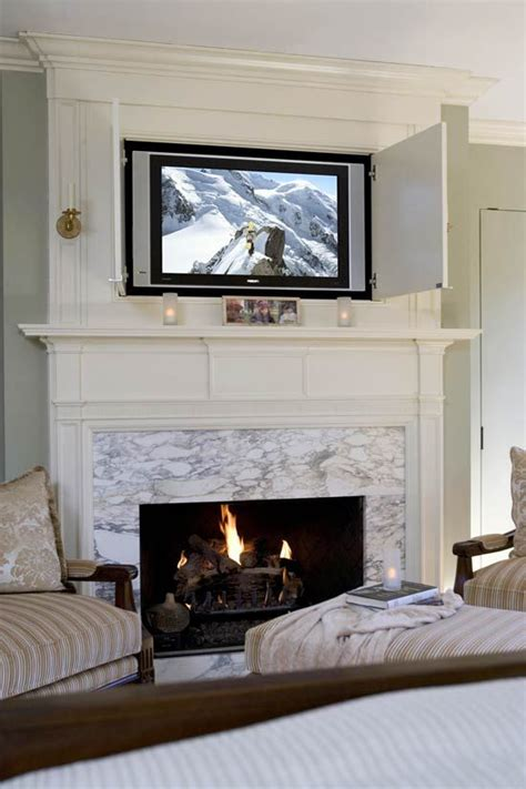 tv above fireplace great room