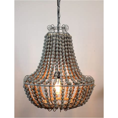 Aged Wooden Beaded Big Chandelier Made Lighting