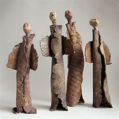Handmade Clay Sculptures - esculturas de barro anjo and cer 226 mica artesanal on
