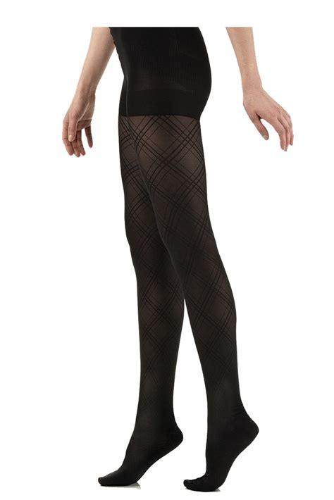 Celana Semi Legging Color vim vigr s argyle semi opaque compression tights in black argyle
