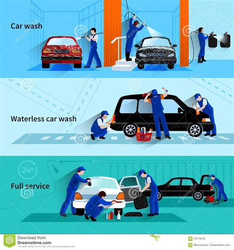 car wash service car wash service 3 flat banners stock vector image 70773478