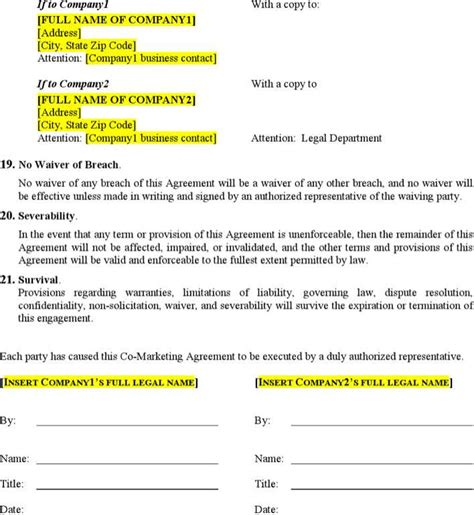 Download Co Marketing Agreement Template For Free Page 5 Tidytemplates Co Marketing Agreement Template