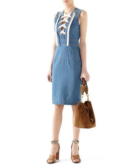 Dress Ld100 Denim Gucci gucci denim sleeveless lace up dress